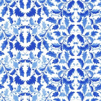 Płytka azulejos niebieskie liście
