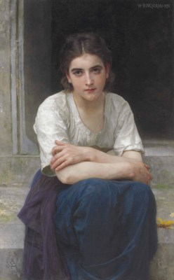 William Adolphe Bouguereau – Zaduma na progu – reprodukcja